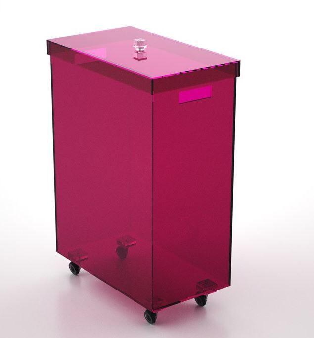Petrozzi Panier à linge rectangulaire en 13 couleurs - Gris fumé - Avec roues