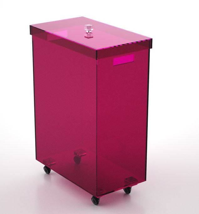 Petrozzi Panier à linge rectangulaire en 13 couleurs - Prune - Avec roues