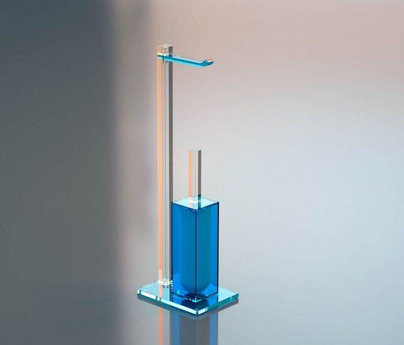 Petrozzi Porte-rouleau de papier toilette et brosse de toilette en 12 couleurs - Blu