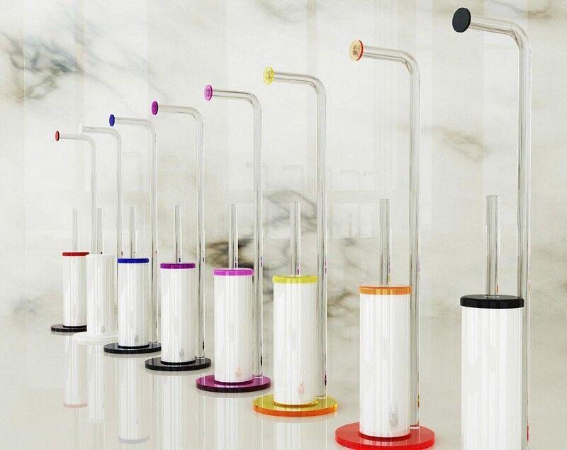 Petrozzi Porte-rouleau de papier toilette et brosse de toilette en 12 couleurs - Nero