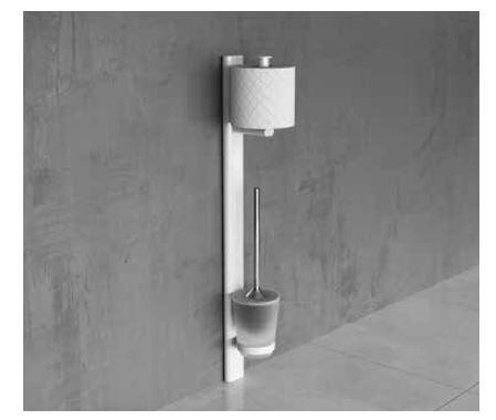 Novellini Porte-rouleau de papier toilette et brosse de toilette en 3 couleurs - Silver