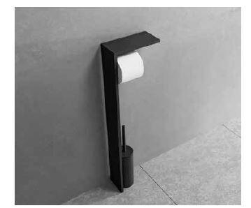 Novellini Porte-rouleau de papier toilette et brosse de toilette en 3 couleurs - Noir Mat