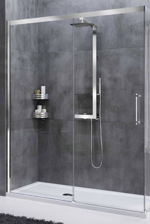 Novellini Cabine de douche à porte coulissante Rose Rouge PH 138 - chrome - satin - Droit