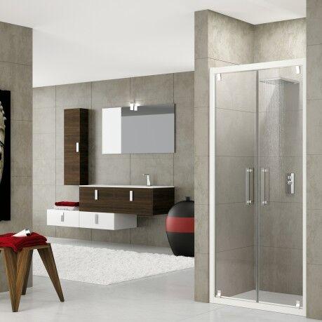 Novellini Porte de douche Porte de douche avec 2 volets Red Rose B 100 - chrome - Sérigrap