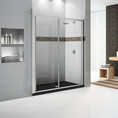 Novellini Star 2P 155 Cabine de douche à porte coulissante - Verre Nivia - argent
