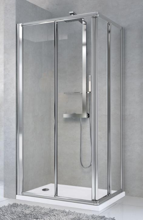 Novellini Cabine de douche Star A à ouverture par angle 100x80 - Verre de sérigraphie à po
