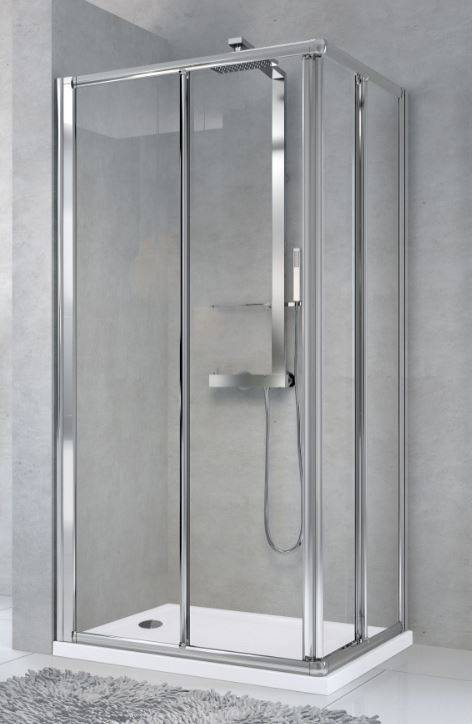 Novellini Cabine de douche Star A à ouverture par angle 100x80 - Verre transparent - blanc