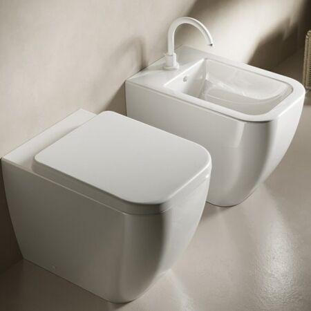 HATRIA Fil de Toilette Blanc Sans Brida - Avec siège enveloppant à ralentissement