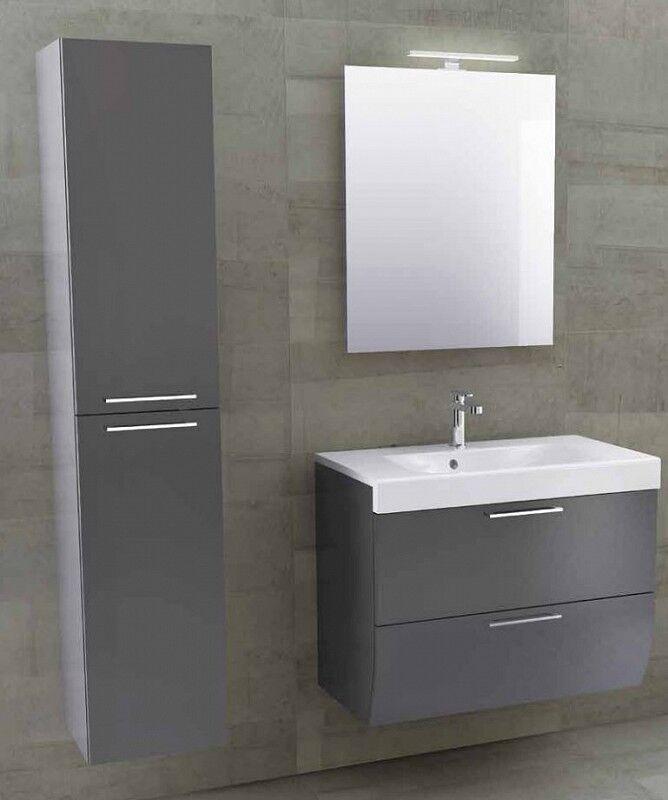 Iotti Armoire de toilette Smile 97.5 avec armoire colonne en 5 Couleurs - Nero Lucido