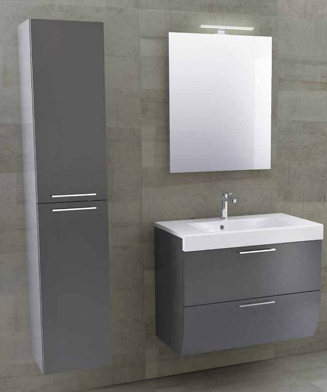 Iotti Armoire de toilette Smile 77.5 avec armoire colonne en 5 Couleurs - Antracite Lu