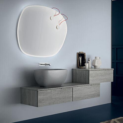 RAB ARREDOBAGNO Armoire de toilette thaïlandaise complète avec miroir - Amande C350