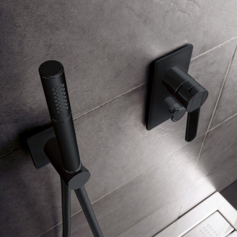 Zazzeri Mitigeur de douche intégré avec déviateur noir tendance - Avec douchette