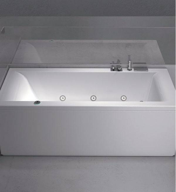 Grandform Baignoire d'hydromassage Mambo POOL - 180x80 - gauche - Avec robinets et colonne