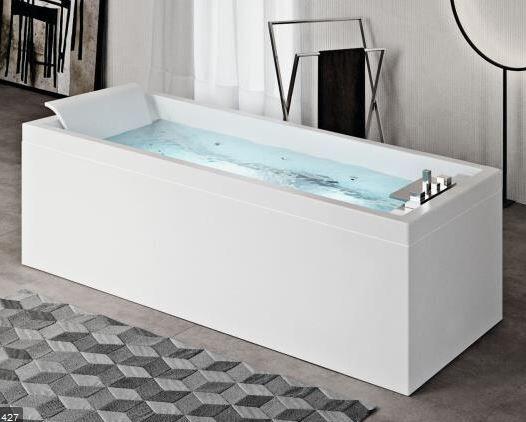 Novellini Baignoire d'hydromassage Sense 4 Hydro - 180x80 - Blanc brillant - grain - SANS