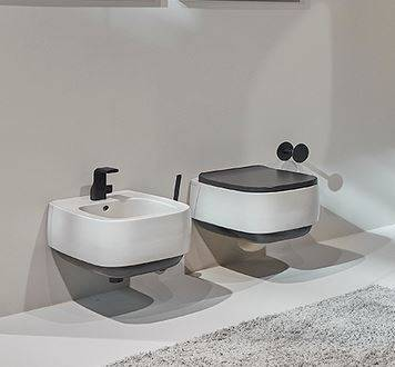 Flaminia Wc Flag bicolored - Lait - Platine métal Blanc