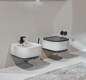 Flaminia Wc Flag bicolored - Lait graphite - Sans Siège de toilette