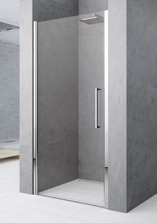 Novellini Porte de douche battante Young 2.0 1B 60 - chrome - transparent