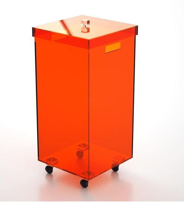 Petrozzi Panier à linge carrée en 13 couleurs - Grigio Fumè. - Con Ruote
