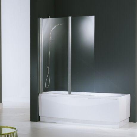 Novellini Aurora 2 Box en Cristal 120 cm - argent - Sur mesure - satin