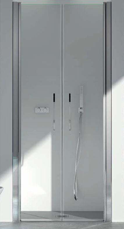 CSA Box Doccia Cabine de douche Saloon Camilla 2B cm 90 cm HAUTEUR SUR MESURE - Argent satiné -