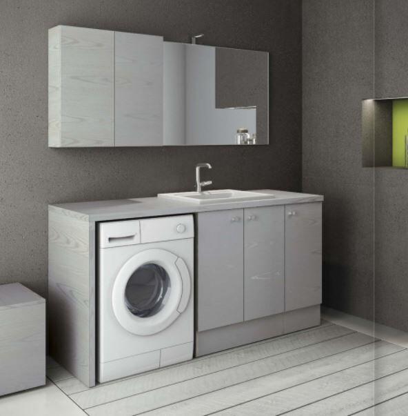 Mobilduenne Armoire de toilette avec porte lave-linge et lavabo cm 175 - Mélèze blanc