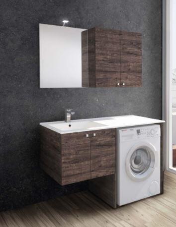 Mobilduenne Armoire de toilette avec porte lave-linge et lavabo cm 131 - Droit - Orme blanc