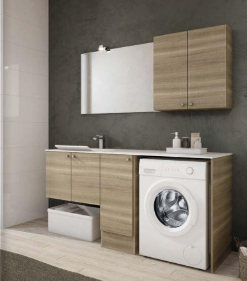 Mobilduenne Armoire de toilette avec porte lave-linge et lavabo cm 175 - Mélèze blanc - Matt