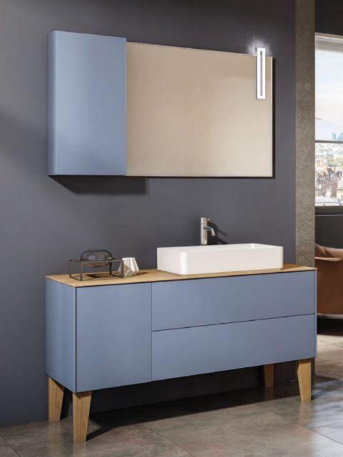 Mobilduenne Armoire de toilette cm 127 avec miroir - Chêne Gris