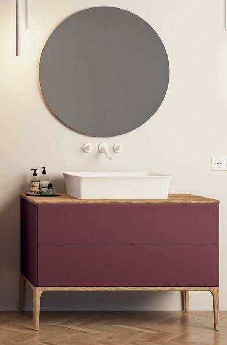 Mobilduenne Armoire de bain cm 109 avec miroir - poudre de riz
