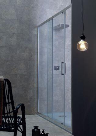 Tamanaco Boîte de douche de 110 cm à porte coulissante - satin