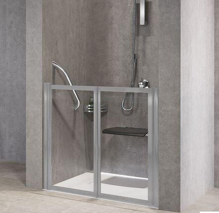 Novellini Porte de douche à rabat gratuit 2P 90 - Niva - blanc - Avec joint inférieur