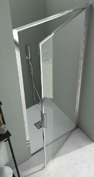 CSA Box Doccia Cabine de Douche Porte 1 Porte Feuille Greta B 75 - Argent satiné - acrylique -