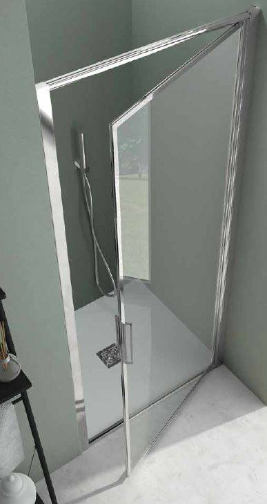 CSA Box Doccia Porte De Douche Porte 1 Porte Feuille Greta B 70 - Argent poli - satin - droit