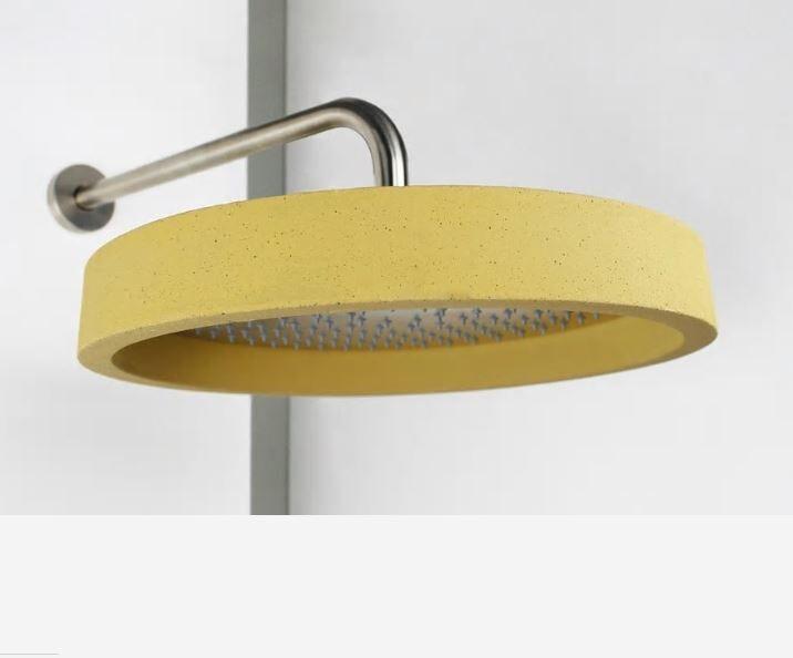 Ritmonio Pommeau de douche en acier inoxydable poli Haptic avec couvercle en ciment Sahar