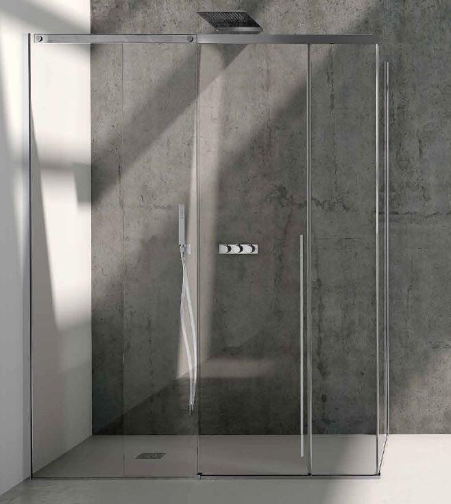 CSA Box Doccia Boîte de douche Ines A.FS + L 120x80 Inoxydable 8MM Ouverture Coulissante - Acie