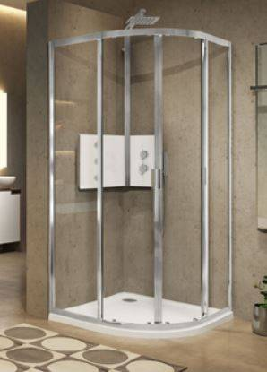 Novellini Cabine de douche Lunes 2.0 R en demi-cercle 100x100 - transparent - blanc