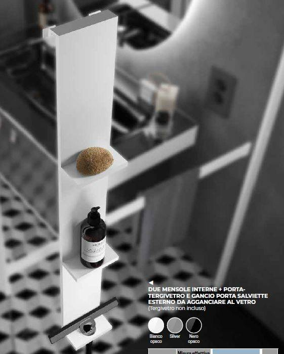 Novellini Tablettes à fixer sur la cabine de doucheen 3 Couleurs - Bianco - Con Tergivetr