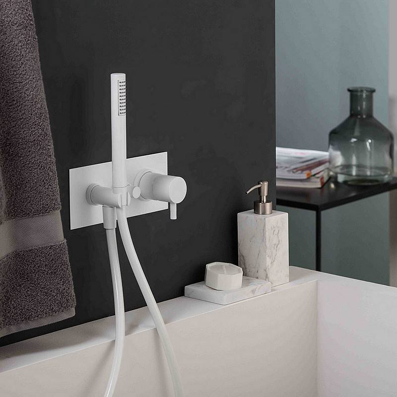 Ritmonio Mitigeur de douche ou de bain dissimulé blanc Diametro35