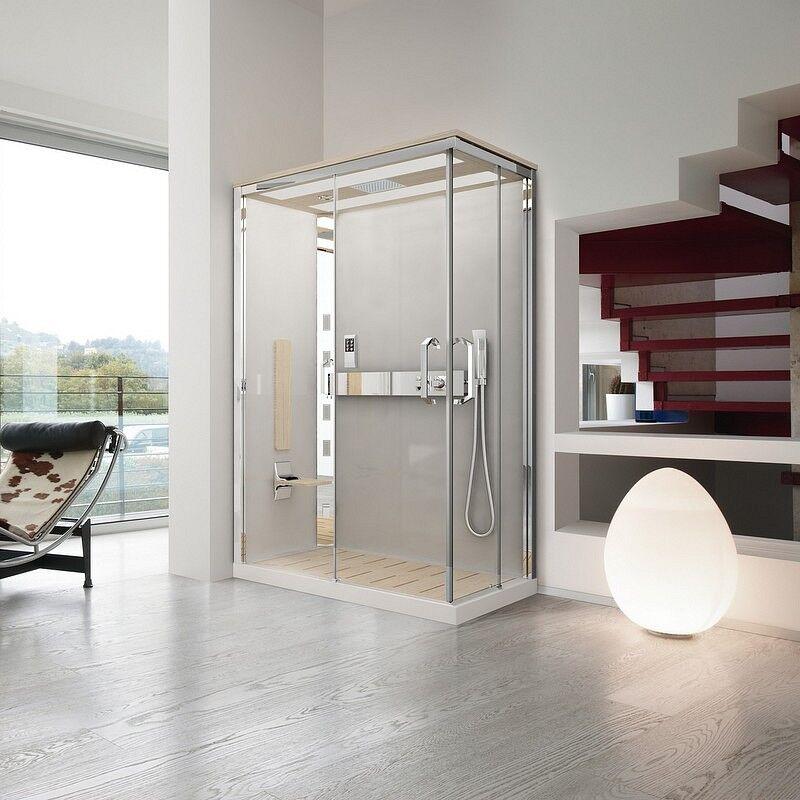 Novellini Nexis Whirlpool Box et Hammam Sauna 100x80 - 100x80 - Chêne blanchi - H 8 cm - M