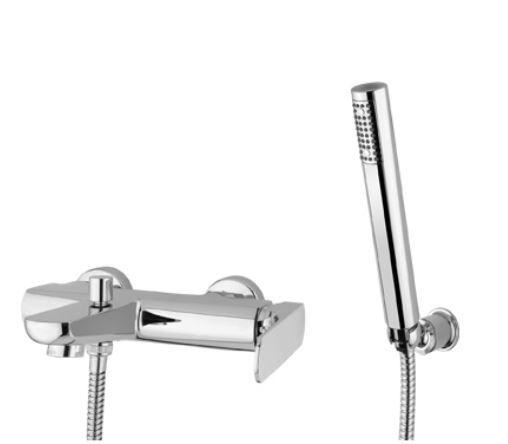 Bugnatese Mitigeur de baignoire complet avec douchette et tuyau Planet - Chrome poli