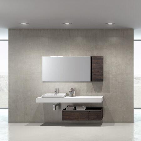 Mobilduenne Armoire de toilette complète avec miroir avec unité murale de 175 cm - Gris matr