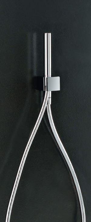 Zazzeri Pommeau de douche complet avec flexible et arrivée d'eau Qquadro INOX