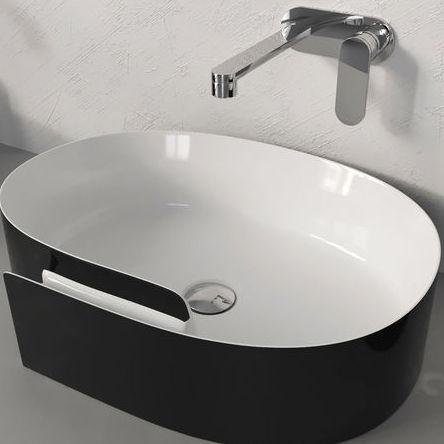 Flaminia Roll 56 Bicolor Lavabo Blanc Brillant Noir