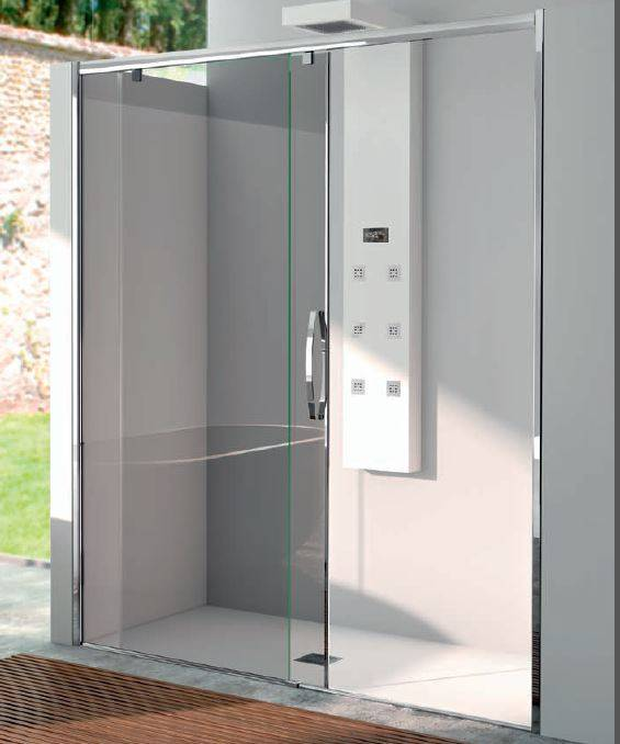 CSA Box Doccia Porte de douche rose porte coulissante Fs 165 - transparent - Chrome satiné - Dr