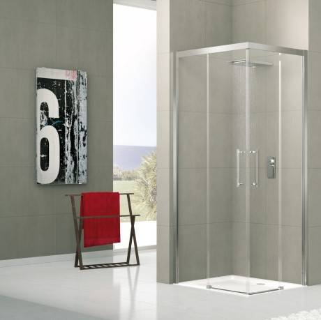 Novellini Red Rose Shower Box A Ouverture à angle coulissant 140x70 - chrome - satin - Mes