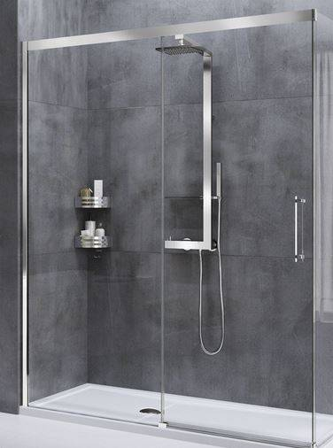 Novellini Cabine de douche à porte coulissante Rose Rouge PH 147 - chrome - satin - Droit