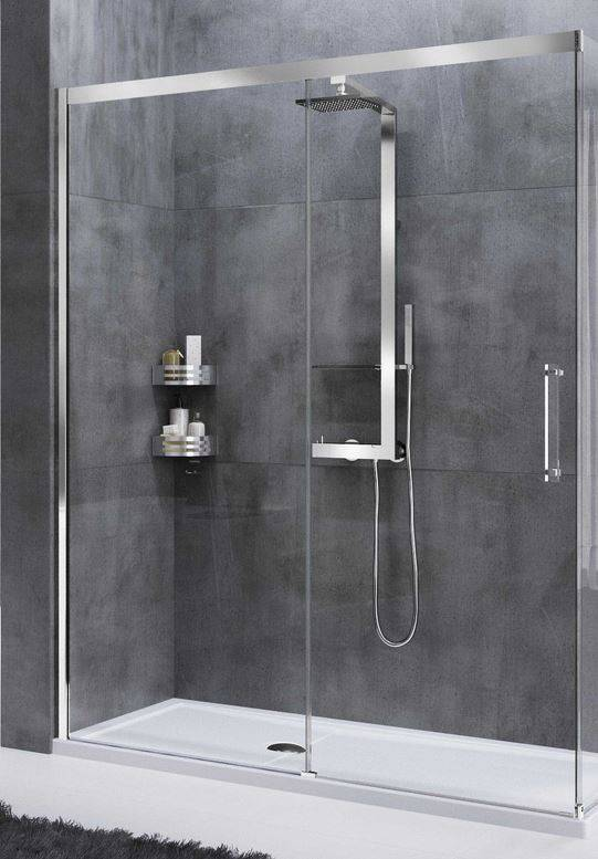 Novellini Cabine de douche à porte coulissante Rose Rouge PH 115 - chrome - Sérigraphie Ro