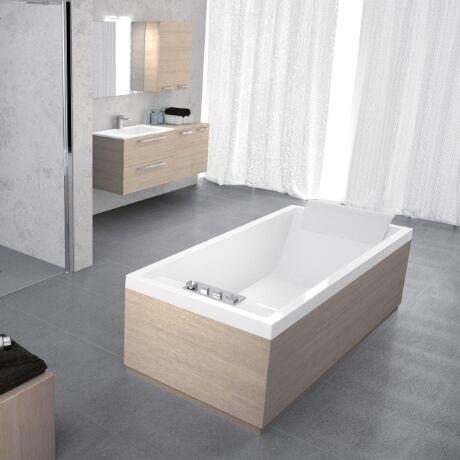 Novellini Sense 3 baignoire encastrée 180x80 uniquement Shell - Blanc doux - Avec robinets