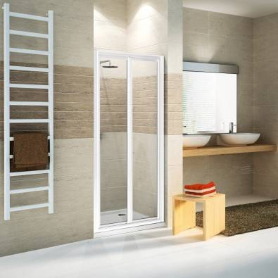 Novellini STAR S Box porte de douche avec soufflet - 66-72 - Verre Nivia - blanc