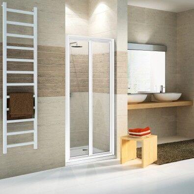 Novellini STAR S Box porte de douche avec soufflet - Verre transparent - blanc - 84-90